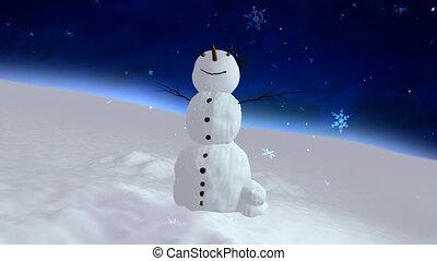 snowman blue sky center