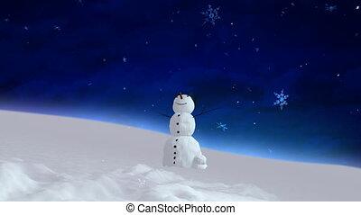 snowman blue sky wide angle