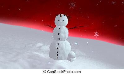 snowman red sky center