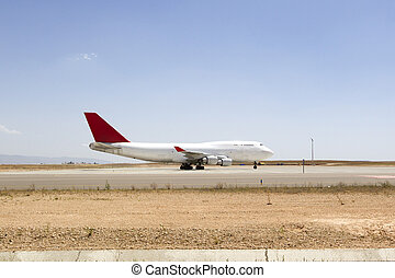 plane boeing 747 in runway an airport
