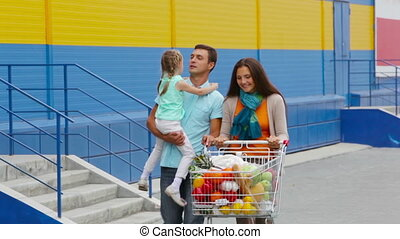 Full of groceries - Cheerful shoppers pushing the cart full...