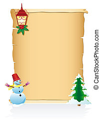 vintage christmas blank scroll vector illustration isolated...
