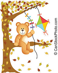Teddy bear sitting on the tree with - Scalable vectorial...