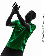 african man soccer player  applauding silhouette