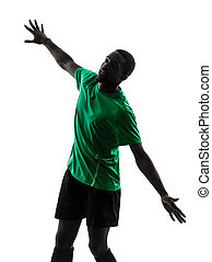 african man soccer player  scoring silhouette