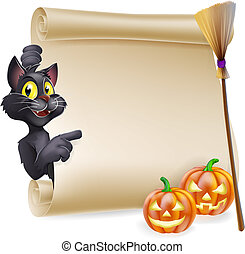 Halloween Scroll Sign - A Halloween scroll with black cat...