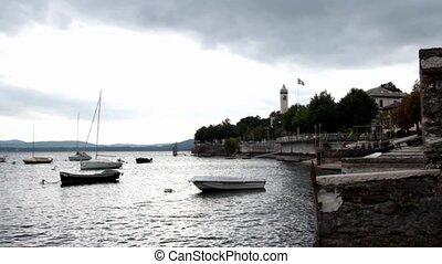 lesa harbor - boats in Lesa, lake Maggiore, Italy