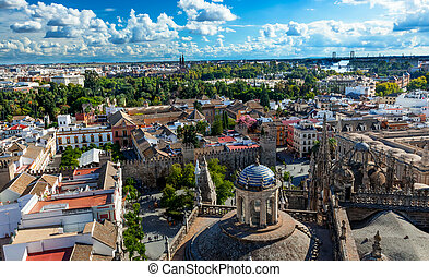 Cityscape, City View, from Giralda Spire, Bell Tower,...