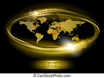 gold age - abstract world map in the gold color