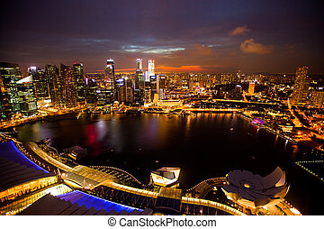 Panorama of Singapore from roof Marina Bay hotel, in the...