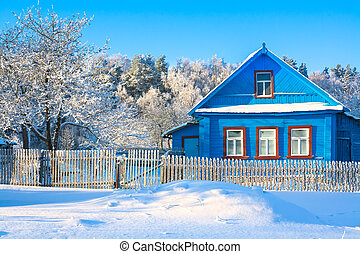 rural house in the winter covered with snow