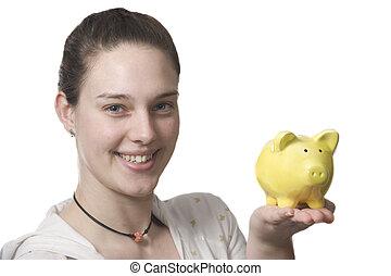 dinero, Ahorra, joven, mujeres