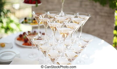 Pyramid of champagne