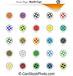 Bottle caps soccer flags collection