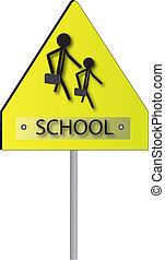 Schule, Kinder, zeichen