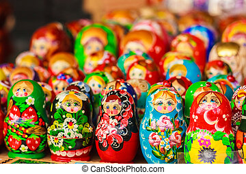 Colorful Russian nesting dolls at the market - Colorful...