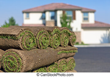 new lawn - stacks of sod rolls