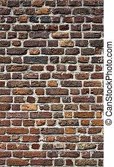 antiga, tijolo, parede, textura