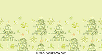 Snowflake Christmas Trees Horizontal Seamless Pattern Border...