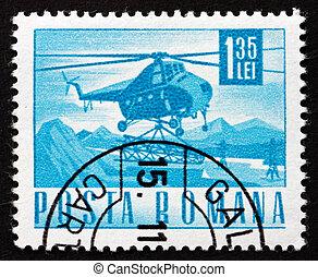 Postage stamp Romania 1968 Helicopter Mi-4 - ROMANIA - CIRCA...