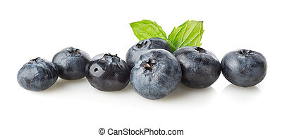 Blueberry with green leaves isolated on a white background