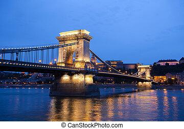 Chain Bridge over Danube river, Budapest cityscape, Hungary