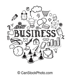 Hand-drawn business illustration - business icons in sketch...