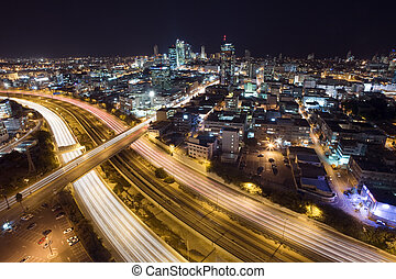Tel Aviv by Night - The night Tel Aviv city - View of Tel...