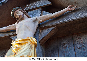 INRI, Jesus - A statue of Jesus on the cross, in Bavaria
