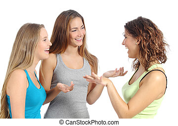 Group of women talking isolated on a white background...