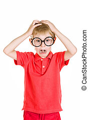 many studies - Portrait of a shocked schoolkid in spectacles...