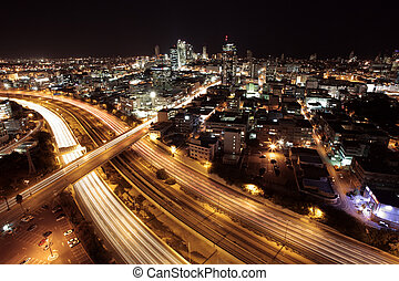Tel Aviv Skyline - Tel Aviv at twilight / The night city /...
