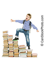 difficulties - A boy climbing the stairs of books....