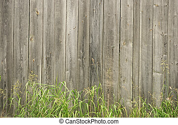 vintage old wooden fence with green grass