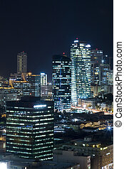 The Tel aviv skyline - Night city - Tel Aviv Central...
