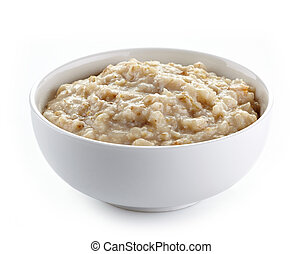 Bowl of oats porridge on a white background