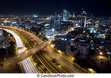 Tel Aviv Skyline - Tel Aviv at twilight / The night city /...