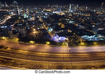 Tel Aviv Skyline - Tel Aviv at twilight / The night city,...