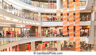 modern mall - panoramic view of a modern mall
