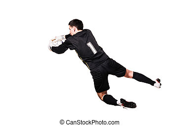 soccer player - soccer goalkeeper is catching a ball,...