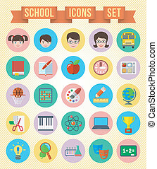 School Icons Set - Set of 25 flat round school icons