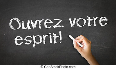 Open Your Mind In French - A person drawing and pointing at...