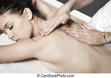 Relaxing massage at beauty spa salon