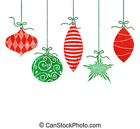 Whimsical Hanging Christmas Ornaments - Five cute retro...