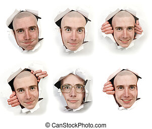 Six faces looking through holes - Six man\'s faces looking...