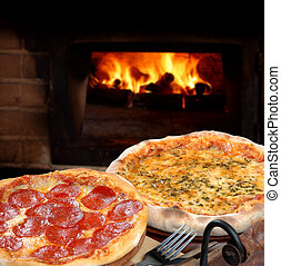 pizza - Pizza baked in wood oven.