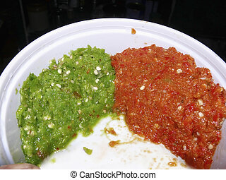 Pastes of red and green chilies, Capsicum annuum - Common...