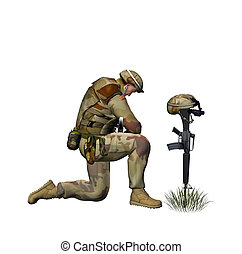 Praying Soldier - Soldier praying for a fallen friend.