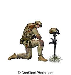 orando, soldado