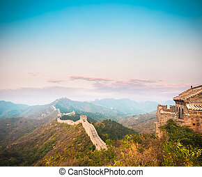 the great wall in sunset - the great wall in beautiful...